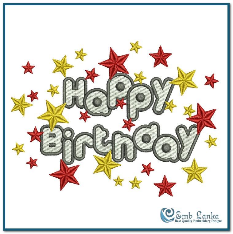 happy birthday embroidery design emblanka com