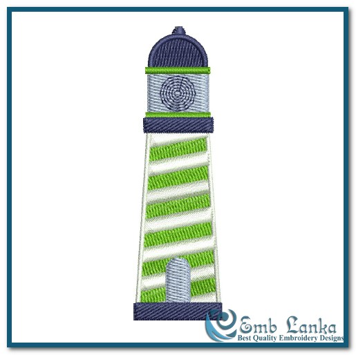 Navy And Green Light House Embroidery Design