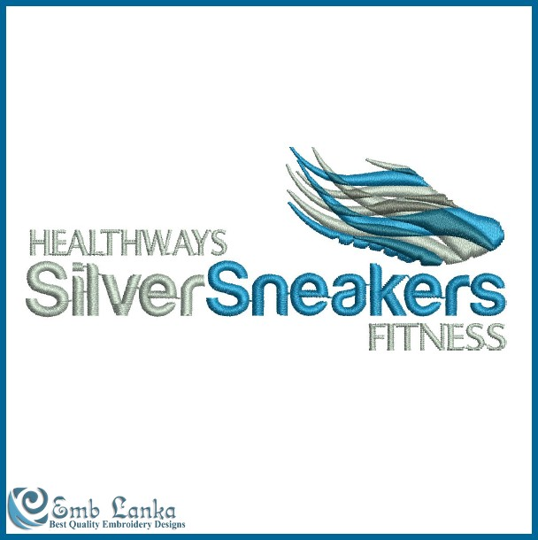Healthways Silver Sneakers Fitness Logo Embroidery Design Emblanka