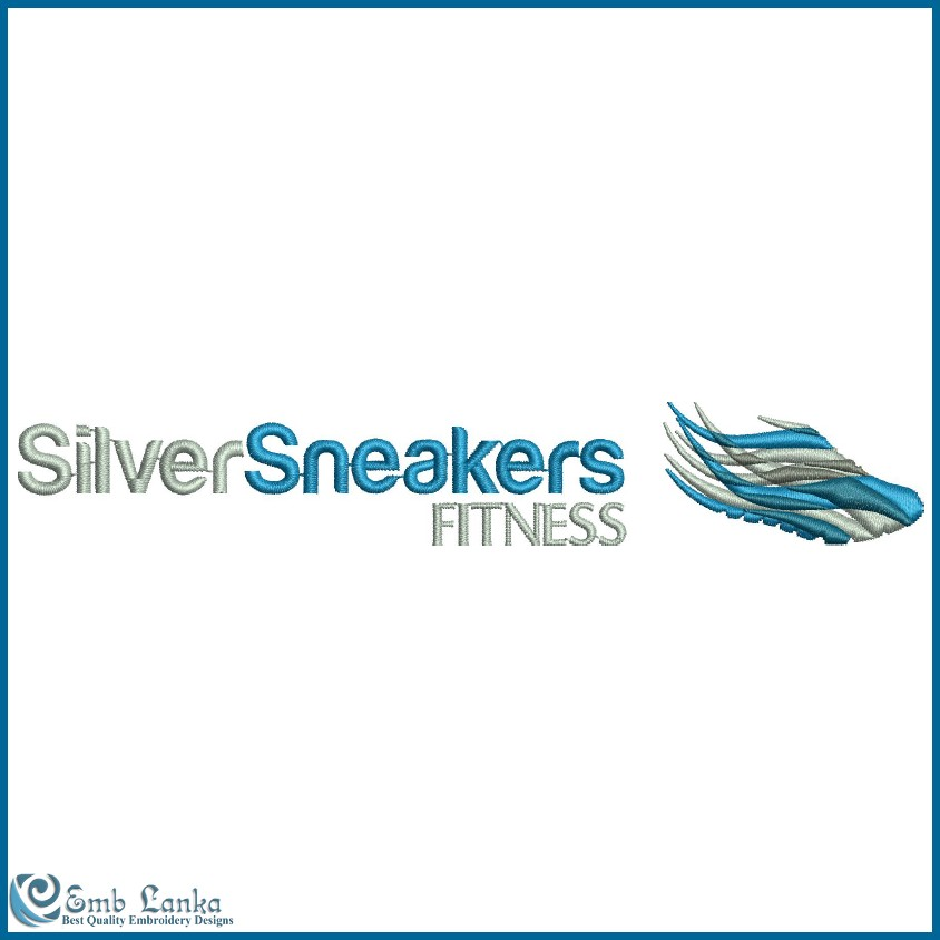 Silver Sneakers Fitness Logo Embroidery Design Emblanka