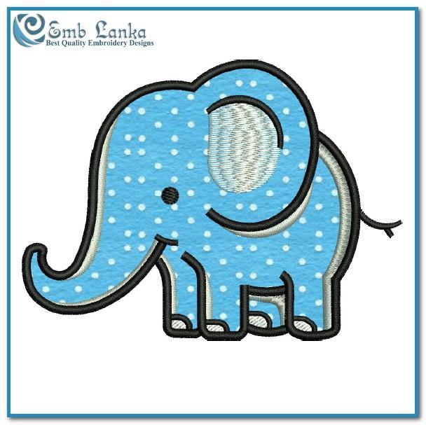 Cute Cartoon Elephant Applique Free Embroidery Design