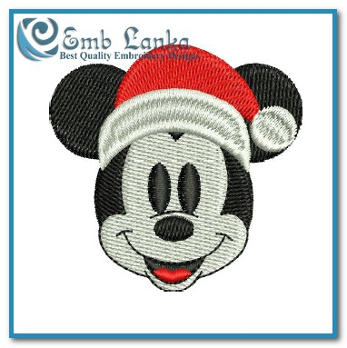 Mickey Mouse With Santa Hat Embroidery Designs