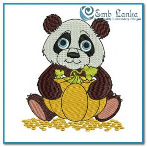 Cartoon Panda Holding Pumpkin Embroidery Design Animals Panda