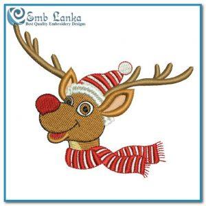 Christmas Reindeer Embroidery Design Animals Christmas