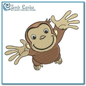 Happy Cute Curious George Cartoon Monkey Embroidery Design Animals monkey