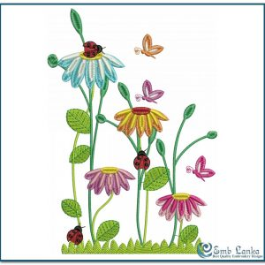 Flowers Butterfly and Bugs Embroidery Design Animals