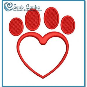 Free Paw Print Heart Embroidery Design Animals Heart