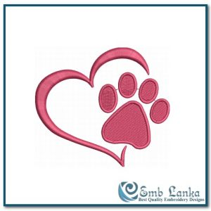 Free Paw Print Heart 3 Embroidery Design Animals Heart