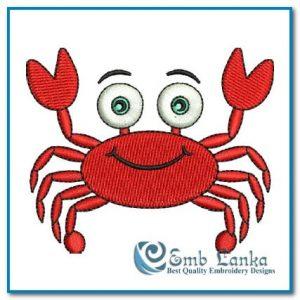 Cartoon Red Crab Embroidery Design Animals