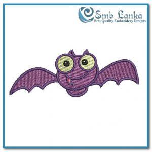 Colorful Halloween Bat Embroidery Design Birds