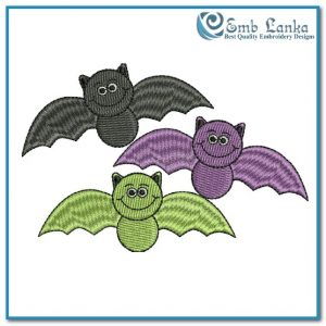 Colorful Halloween Bats Embroidery Design Birds