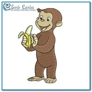 Happy Cute Curious George Cartoon Monkey Eating Banana Embroidery Design Animals
