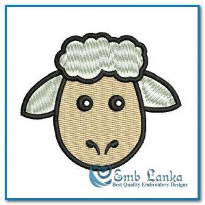 Free Cartoon Sheep Face 2 Embroidery Design Animals