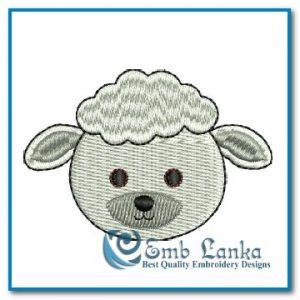 Free Cartoon Sheep Face Embroidery Design Animals