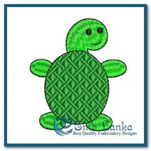 Free Cute Green Tortoise Embroidery Design Animals