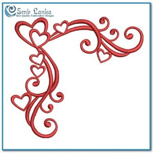 Free Red Heart Corner Embroidery Design Days