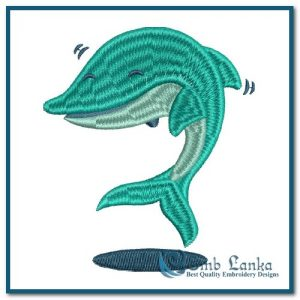 Green Dolphin Embroidery Design Animals