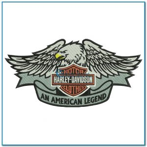 Harley Davidson Logo with Eagle 2 Embroidery Design Logos Harley