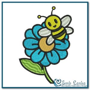 Sunflower And Bee Embroidery Design Animals