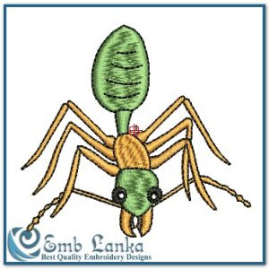 A Green And Tan Ant Embroidery Design Animals