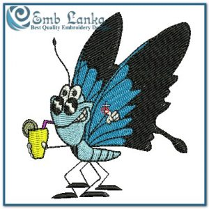 A Thirsty Blue Butterfly Embroidery Design Butterflies