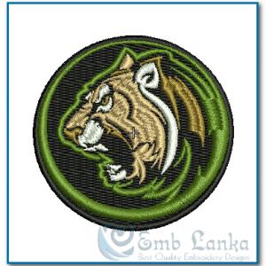 Aggressive Cougar Mascot Circle Embroidery Design Animals