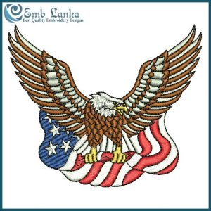 American Bald Eagle Carrying The Flag Embroidery Design Animals