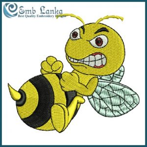 Angry Bee Cartoon Embroidery Design Animals