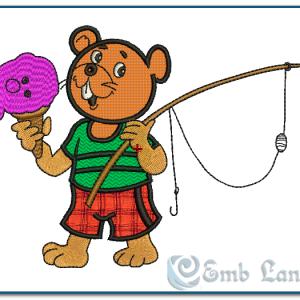 Bear Going Fishing Embroidey Design Animals