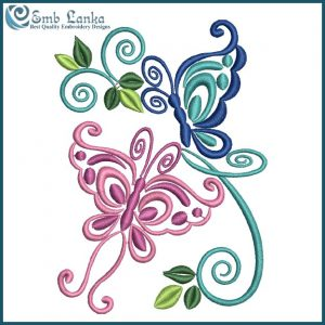Butterflies with Floral Embroidery Design Animals