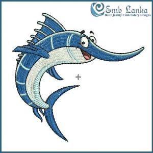 Cartoon Swordfish Embroidery Design Animals