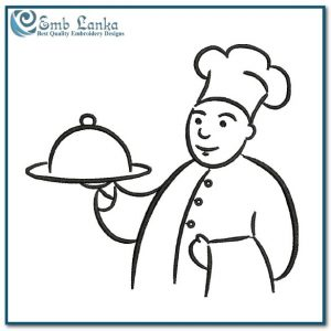 Chef Cook with Tray Embroidery Design Cartoon