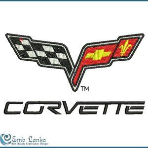 Chevrolet Corvette Logo Embroidery Design Flags