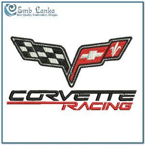 Corvette Racing Logo Embroidery Design Flags