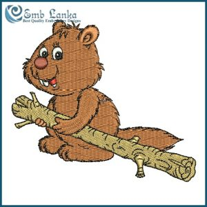Cute Beaver Carrying A Wooden Log  Embroidery Design Animals