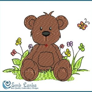 Cute Brown Teddy Bear Embroidery Design Animals
