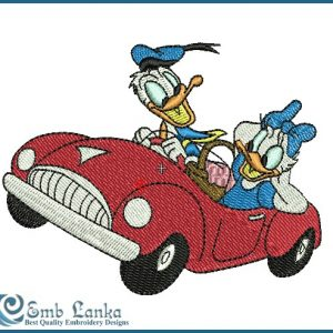 Daisy & Donald Duck Embroidery Design Birds Car
