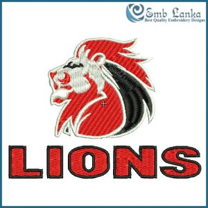 Golden Lions Rugby Union Embroidery Design Animals