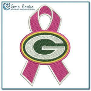 Green Bay Packer Cancer Ribbon Logo Embroidery Design Logos