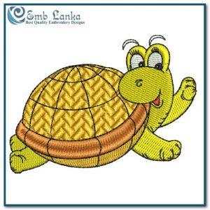 Happy Swimming Sea Turtle Embroidery Design