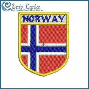 Norway Flag Crest Decal Embroidery Design Flags