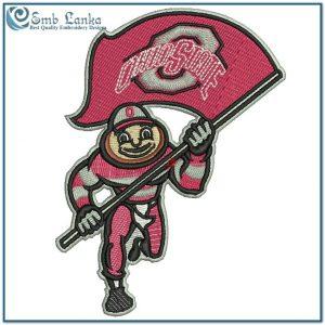 Ohio State Brutus Buckeye Embroidery Design Flags