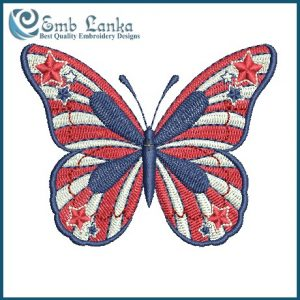 Patriotic American Butterfly With Stars And Stripes Embroidery Design Animals