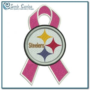 Pittsburgh Steelers Cancer Ribbon Logo Embroidery Design Logos