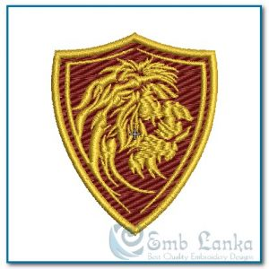 Profiled Lion Mascot Shield Badge Embroidery Design Animals