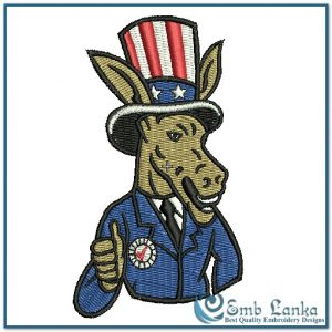 Retro Democratic Party Logo 2 Embroidery Design Animals