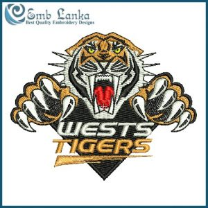 Wests Tigers Rugby Team Logo Embroidery Design Logos