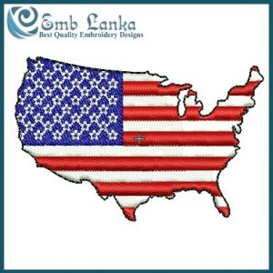 American Map With Flag Embroidery Design Flags