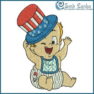 American Baby With A Top Hat Embroidery Design Flags