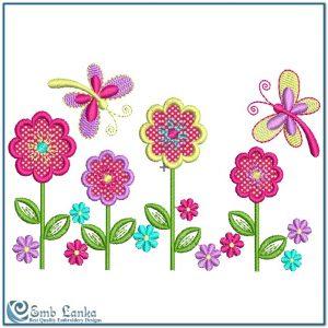 Applique Flowers and Butterflies Embroidery Design Butterflies